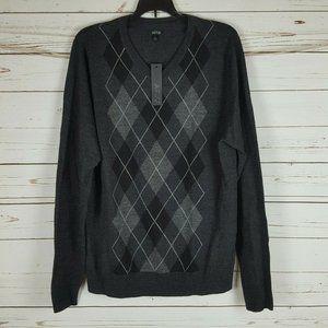 Apt 9. Dark Argyle Merino Wool Sweater NWT Sz L